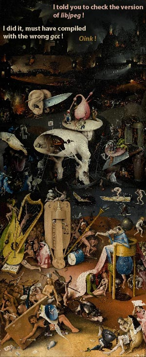 """The Dependency Hell"", rightmost panel of Hieronymus Bosch's ""The Garden of Earthly Delights""."