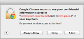 Google Chrome requesting access to OS X keychain