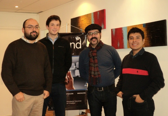 Orand's Research Team and Prof. Eduardo Valle : left to right Juan Manuel Barrios (Director of Research), Felipe Ramírez, Eduardo Valle, and José Manuel Saavedra