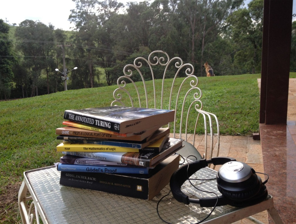 Summer Reading — The Annotated Turing (Petzold); Undecidable Theories (Tarski); From a Logical Point of View (Quine); Theory dos Conjuntos: Um Mínimo (Miraglia); The Mathematics of Logic (Kaye); Roads do Infinity (Stillwell); Quine — A Guide for the Perplexed (Kemp); Gödel's Proof (Nagel, Newman); Gödel, Escher, Bach: an Eternal Golden Braid (Hofstadter)